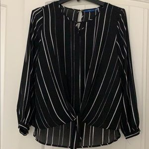 Smart Black and White Striped Blouse